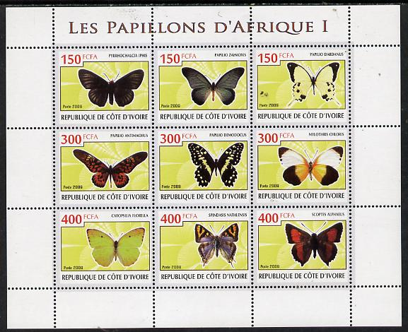 Ivory Coast 2009 Butterflies of Africa #1 perf sheetlet containing 9 values unmounted mint