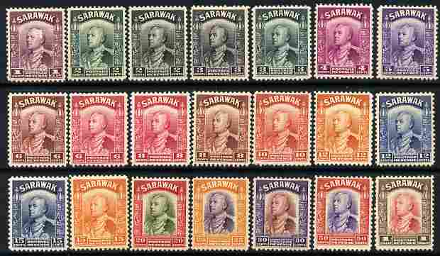 Sarawak 1934-41 Sir Charles Brooke definitive set to $1 (21 values) mounted mint SG 106-20
