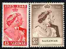 Sarawak 1948 KG6 Royal Silver Wedding set of 2 mounted mint SG165-6