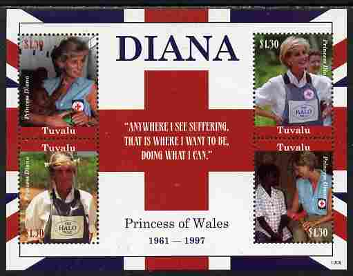 Tuvalu 2010 Princess Diana perf sheetlet containing 4 values unmounted mint