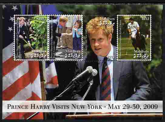 Maldive Islands 2009 Prince Harry Visits New York perf sheetlet containing 4 values unmounted mint. Note this item is privately produced and is offered purely on its thematic appeal