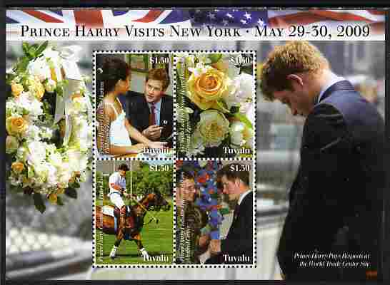 Tuvalu 2009 Prince Harry Visits New York perf sheetlet containing 4 values unmounted mint