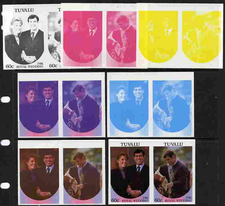 Tuvalu 1986 Royal Wedding (Andrew & Fergie) 60c set of 7 imperf progressive proofs comprising the 4 individual colours plus 2, 3 and all 4 colour composites unmounted mint (7 se-tenant proof pairs)