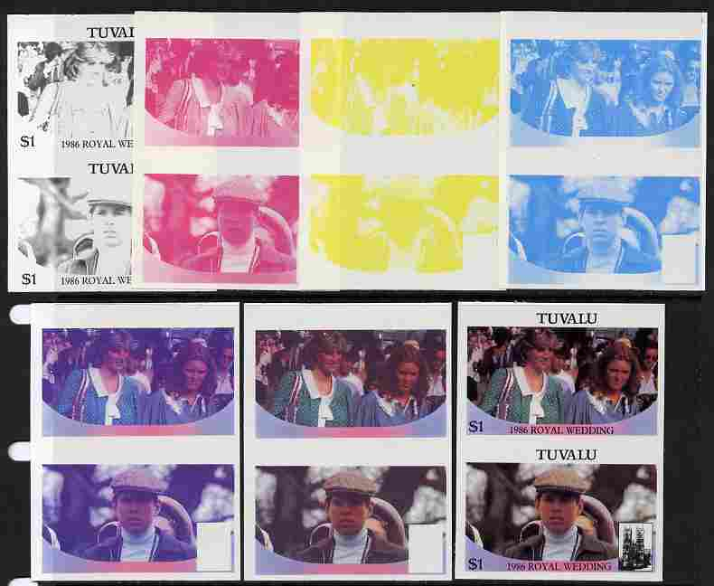 Tuvalu 1986 Royal Wedding (Andrew & Fergie) $1 set of 7 imperf progressive proofs comprising the 4 individual colours plus 2, 3 and all 4 colour composites unmounted mint (7 se-tenant proof pairs)