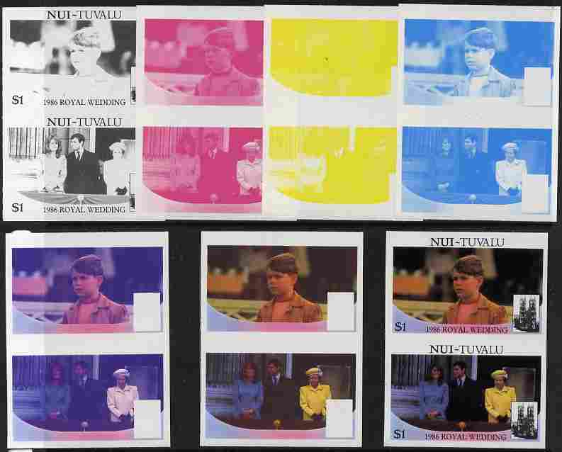Tuvalu - Nui 1986 Royal Wedding (Andrew & Fergie) $1 set of 7 imperf progressive proofs comprising the 4 individual colours plus 2, 3 and all 4 colour composites unmounted mint (7 se-tenant proof pairs)