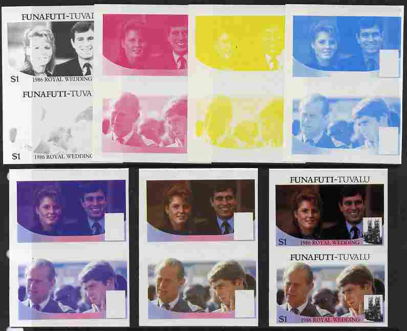 Tuvalu - Funafuti 1986 Royal Wedding (Andrew & Fergie) $1 set of 7 imperf progressive proofs comprising the 4 individual colours plus 2, 3 and all 4 colour composites unmounted mint (7 se-tenant proof pairs)