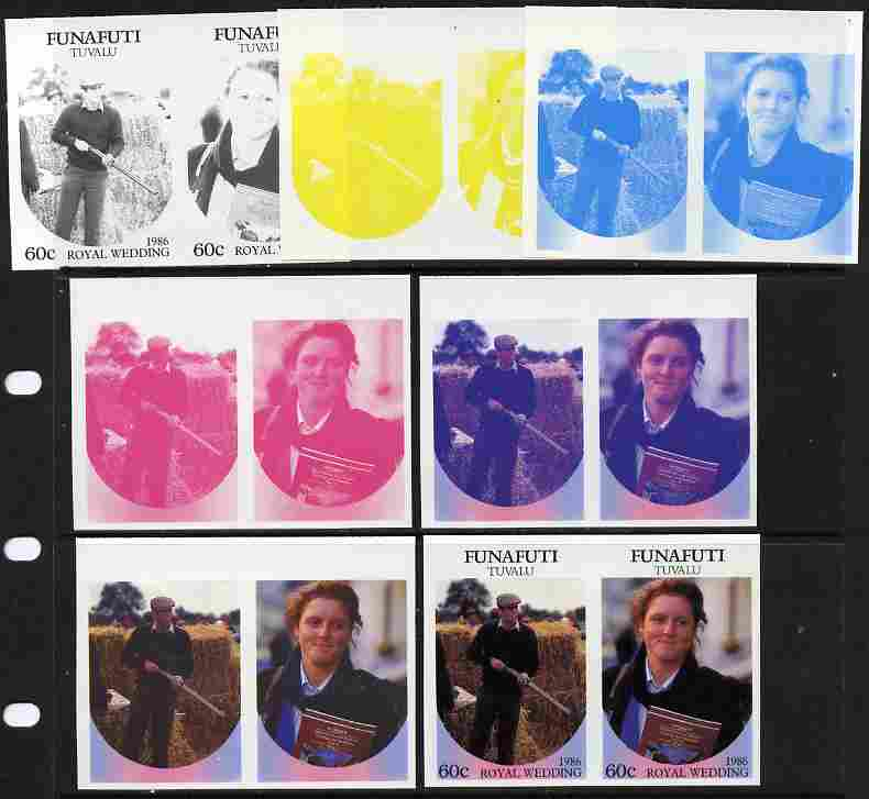 Tuvalu - Funafuti 1986 Royal Wedding (Andrew & Fergie) 60c set of 7 imperf progressive proofs comprising the 4 individual colours plus 2, 3 and all 4 colour composites unmounted mint (7 se-tenant proof pairs)
