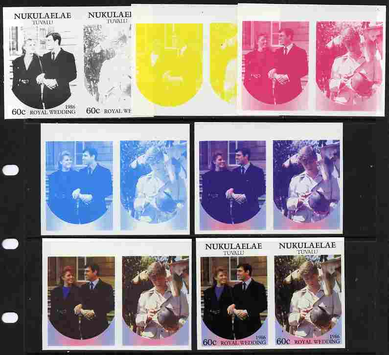 Tuvalu - Nukulaelae 1986 Royal Wedding (Andrew & Fergie) 60c set of 7 imperf progressive proofs comprising the 4 individual colours plus 2, 3 and all 4 colour composites unmounted mint (7 se-tenant proof pairs)
