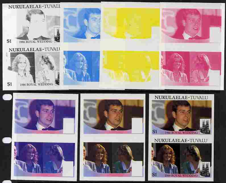 Tuvalu - Nukulaelae 1986 Royal Wedding (Andrew & Fergie) $1 set of 7 imperf progressive proofs comprising the 4 individual colours plus 2, 3 and all 4 colour composites unmounted mint (7 se-tenant proof pairs)
