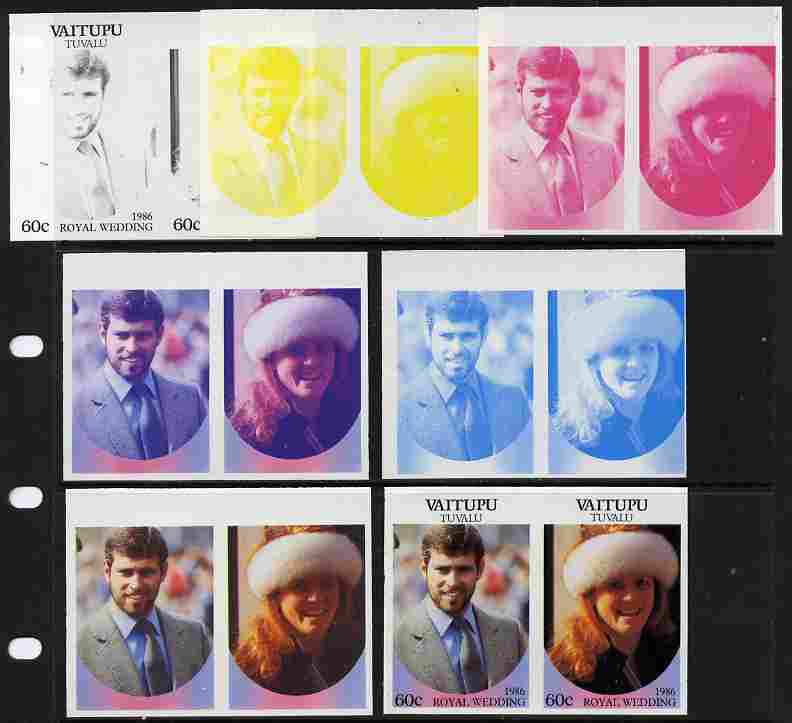 Tuvalu - Vaitupu 1986 Royal Wedding (Andrew & Fergie) 60c set of 7 imperf progressive proofs comprising the 4 individual colours plus 2, 3 and all 4 colour composites unmounted mint (7 se-tenant proof pairs)