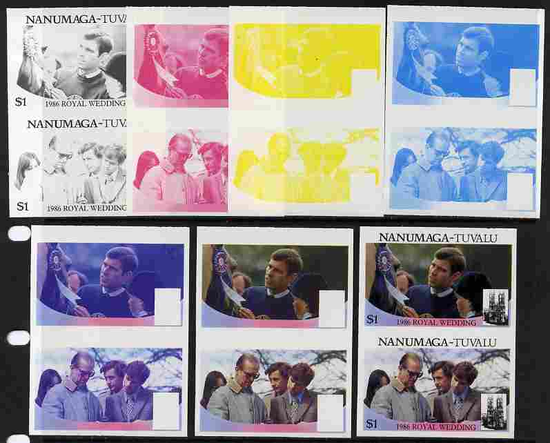 Tuvalu - Nanumaga 1986 Royal Wedding (Andrew & Fergie) $1 set of 7 imperf progressive proofs comprising the 4 individual colours plus 2, 3 and all 4 colour composites unmounted mint (7 se-tenant proof pairs), stamps on royalty, stamps on andrew, stamps on fergie, stamps on