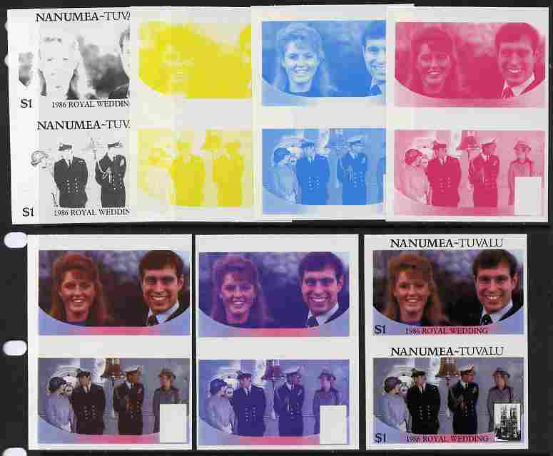 Tuvalu - Nanumea 1986 Royal Wedding (Andrew & Fergie) $1 set of 7 imperf progressive proofs comprising the 4 individual colours plus 2, 3 and all 4 colour composites unmounted mint (7 se-tenant proof pairs)