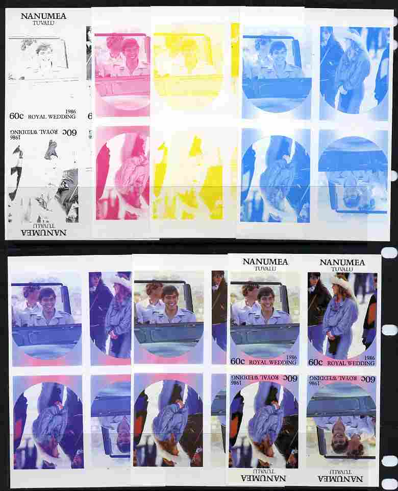 Tuvalu - Nanumea 1986 Royal Wedding (Andrew & Fergie) 60c tete-beche se-tenant block of 4 - set of 7 imperf progressive proofs comprising the 4 individual colours plus 2, 3 and all 4 colour composites unmounted mint (7 tete-beche se-tenant proof blocks)