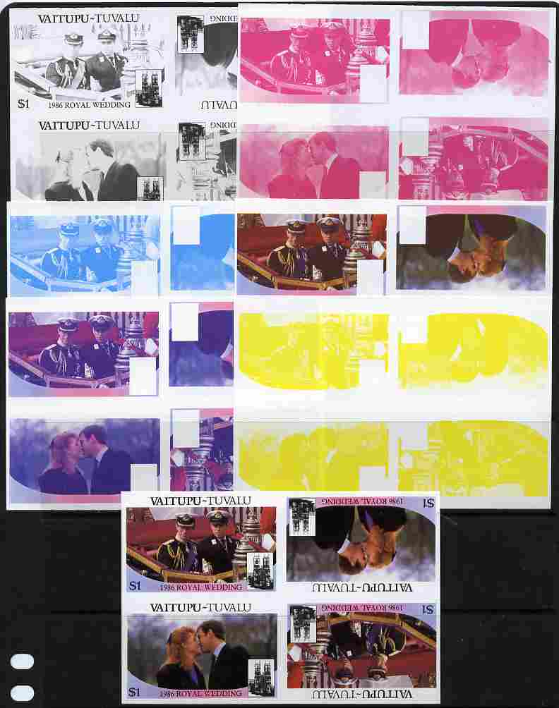 Tuvalu - Vaitupu 1986 Royal Wedding (Andrew & Fergie) $1 tete-beche se-tenant block of 4 - set of 7 imperf progressive proofs comprising the 4 individual colours plus 2, 3 and all 4 colour composites unmounted mint (7 tete-beche se-tenant proof blocks)