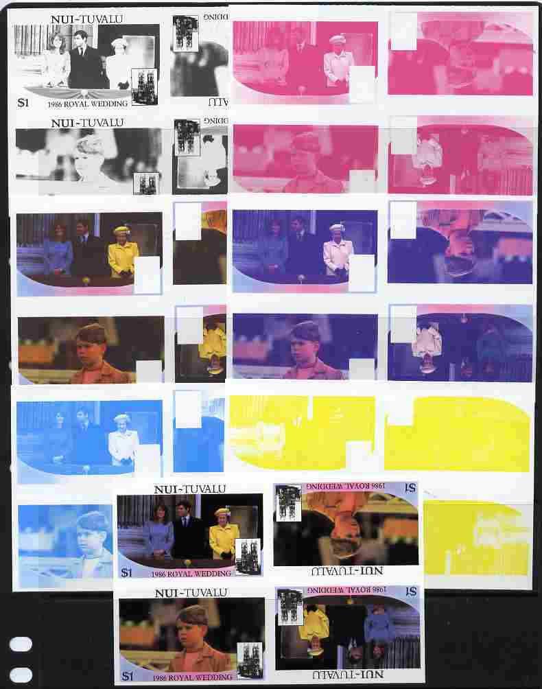 Tuvalu - Nui 1986 Royal Wedding (Andrew & Fergie) $1 tete-beche se-tenant block of 4 - set of 7 imperf progressive proofs comprising the 4 individual colours plus 2, 3 and all 4 colour composites unmounted mint (7 tete-beche se-tenant proof blocks)