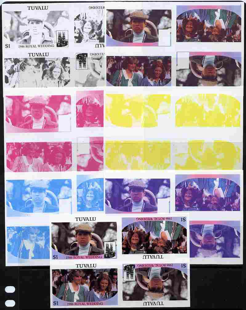 Tuvalu 1986 Royal Wedding (Andrew & Fergie) $1 tete-beche se-tenant block of 4 - set of 7 imperf progressive proofs comprising the 4 individual colours plus 2, 3 and all 4 colour composites unmounted mint (7 tete-beche se-tenant proof blocks)