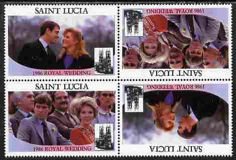 St Lucia 1986 Royal Wedding (Andrew & Fergie) $2 perforated tete-beche se-tenant block of 4 with face value omitted unmounted mint