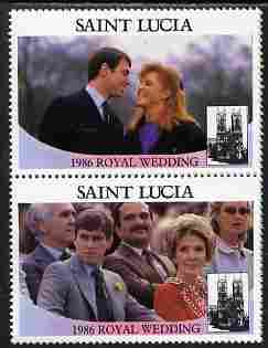 St Lucia 1986 Royal Wedding (Andrew & Fergie) $2 perforated se-tenant pair with face value omitted unmounted mint