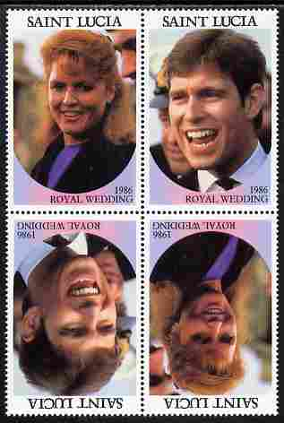 St Lucia 1986 Royal Wedding (Andrew & Fergie) 80c perforated tete-beche se-tenant block of 4 with face value omitted unmounted mint
