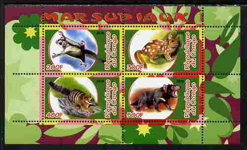 Congo 2010 Marsupials #1 perf sheetlet containing 4 values unmounted mint