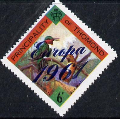 Thomond 1961 Humming Birds 6d (Diamond-shaped) with 'Europa 1961' overprint unmounted mint