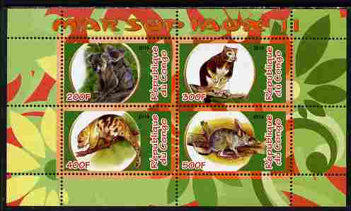 Congo 2010 Marsupials #2 perf sheetlet containing 4 values unmounted mint