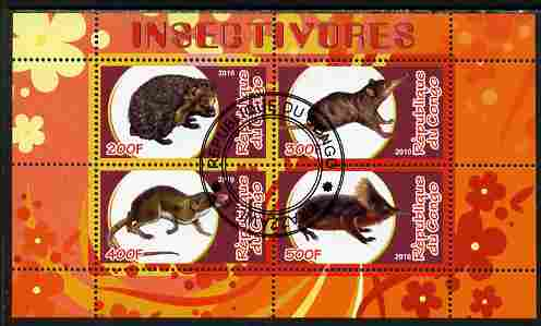 Congo 2010 Insectivores perf sheetlet containing 4 values fine cto used