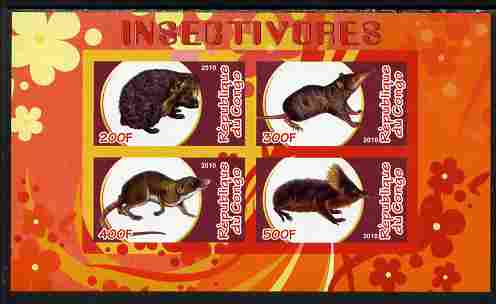 Congo 2010 Insectivores imperf sheetlet containing 4 values unmounted mint