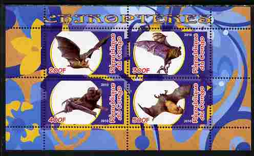 Congo 2010 Chiroptera (Bats) perf sheetlet containing 4 values unmounted mint