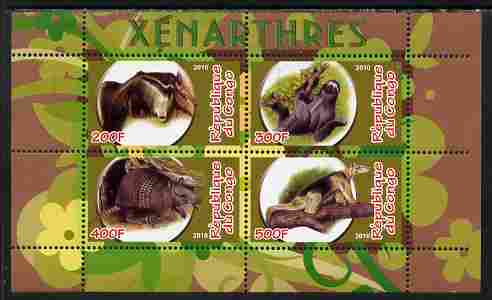Congo 2010 Xenarthra perf sheetlet containing 4 values unmounted mint