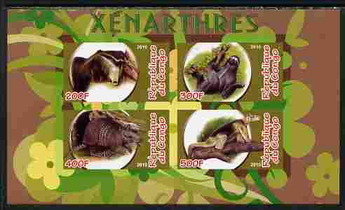 Congo 2010 Xenarthra imperf sheetlet containing 4 values unmounted mint