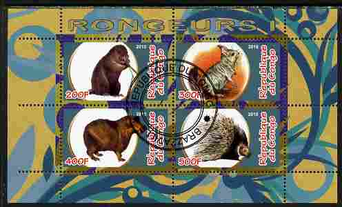 Congo 2010 Rodents #1 perf sheetlet containing 4 values fine cto used