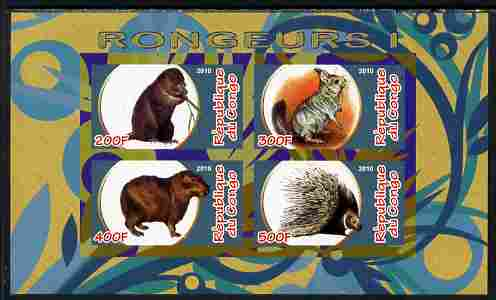 Congo 2010 Rodents #1 imperf sheetlet containing 4 values unmounted mint