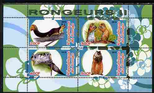 Congo 2010 Rodents #2 perf sheetlet containing 4 values unmounted mint