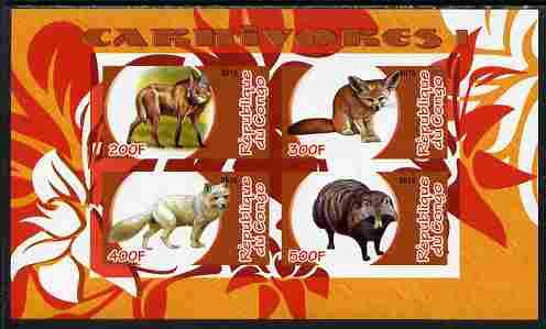 Congo 2010 Carnivores #1 imperf sheetlet containing 4 values unmounted mint