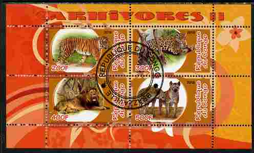Congo 2010 Carnivores #2 perf sheetlet containing 4 values fine cto used