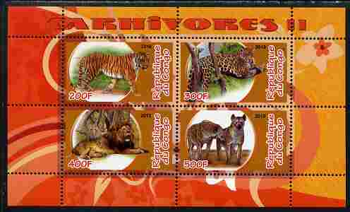 Congo 2010 Carnivores #2 perf sheetlet containing 4 values unmounted mint