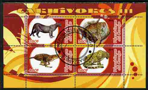 Congo 2010 Carnivores #3 perf sheetlet containing 4 values fine cto used, stamps on animals, stamps on cats
