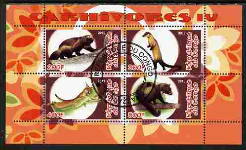 Congo 2010 Carnivores #4 perf sheetlet containing 4 values fine cto used