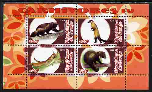 Congo 2010 Carnivores #4 perf sheetlet containing 4 values unmounted mint