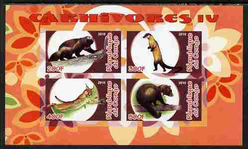 Congo 2010 Carnivores #4 imperf sheetlet containing 4 values unmounted mint