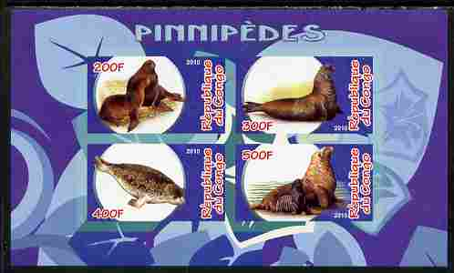 Congo 2010 Pinnipeds imperf sheetlet containing 4 values unmounted mint