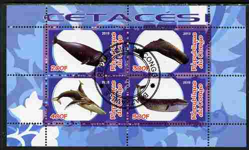 Congo 2010 Cedacea (Whales & Dolphins) #1 perf sheetlet containing 4 values fine cto used