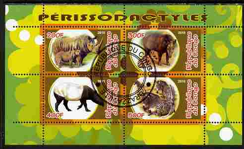 Congo 2010 Perissodactyls (Hoofed Mammals) perf sheetlet containing 4 values fine cto used