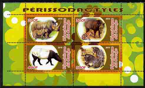 Congo 2010 Perissodactyls (Hoofed Mammals) perf sheetlet containing 4 values unmounted mint