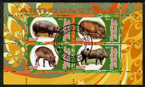 Congo 2010 Artiodactyla (Even toed Mammals) #1 perf sheetlet containing 4 values fine cto used