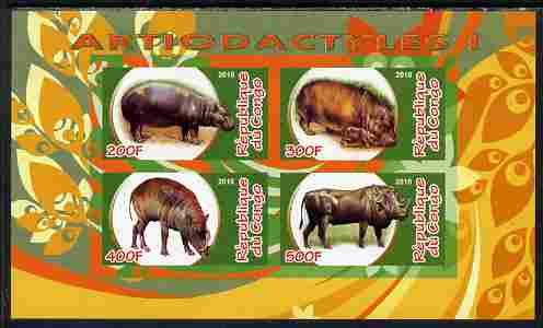 Congo 2010 Artiodactyla (Even toed Mammals) #1 imperf sheetlet containing 4 values unmounted mint