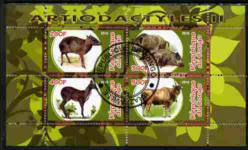 Congo 2010 Artiodactyla (Even toed Mammals) #2 perf sheetlet containing 4 values fine cto used