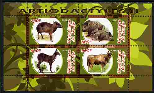 Congo 2010 Artiodactyla (Even toed Mammals) #2 perf sheetlet containing 4 values unmounted mint