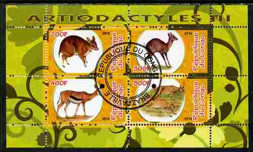 Congo 2010 Artiodactyla (Even toed Mammals) #3 perf sheetlet containing 4 values fine cto used